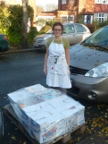 A pallet arrives from Peter and Helen Hutchingson at European Heritage Tiles and Flooring.