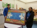 Dan and Kalpina with completed sign - which now sits in their foyer.