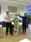 Richard Palfreeman of Northfields Estate Agents promotes the 'Hollyhocks' mosaic raffle, prints the tickets, makes the draw.